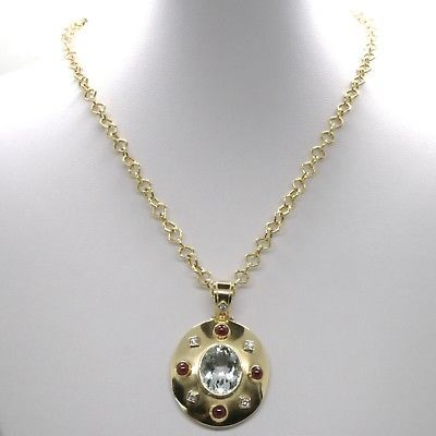 18K YELLOW GOLD NECKLACE BIG OVAL AQUAMARINE RUBY DIAMOND PENDANT SQUARE CHAIN