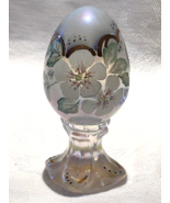 Fenton Glass Limited Edition Egg Opalescent Irridized with White Flowers  - $20.00