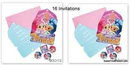 Shimmer and Shine Party Favors Party Birthday 16 Invitations Gennies Invite NEW - $14.80