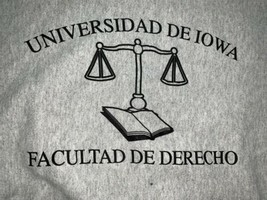Iowa Law School Sweatshirt University Latin Reverse Weave XL Vintage Gussets image 2