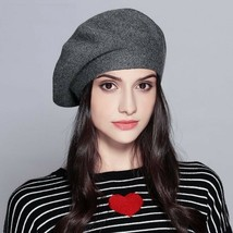 Women's Beret Vogue Hat Winter Knitted Cotton Wool Autumn Casual Solid Caps - $19.94