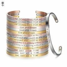 Inspirational Women Custom Cuff Bracelet Gold Stainless Steel Fashion Bracelets - $5.69