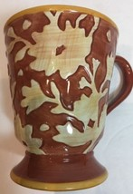 Fitz And Floyd Del Vino Flowers Tan Floral On Rust With Yellow Trim Pede... - $14.84