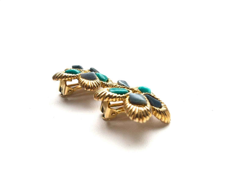 60s Swoboda Signed Natural Gemstones Amethyst Malachite Inserts Brushed Gold Flo