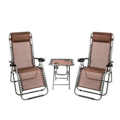 3 PCS Zero Gravity Chair Patio Chaise Folding Lounge Table Chair Sets