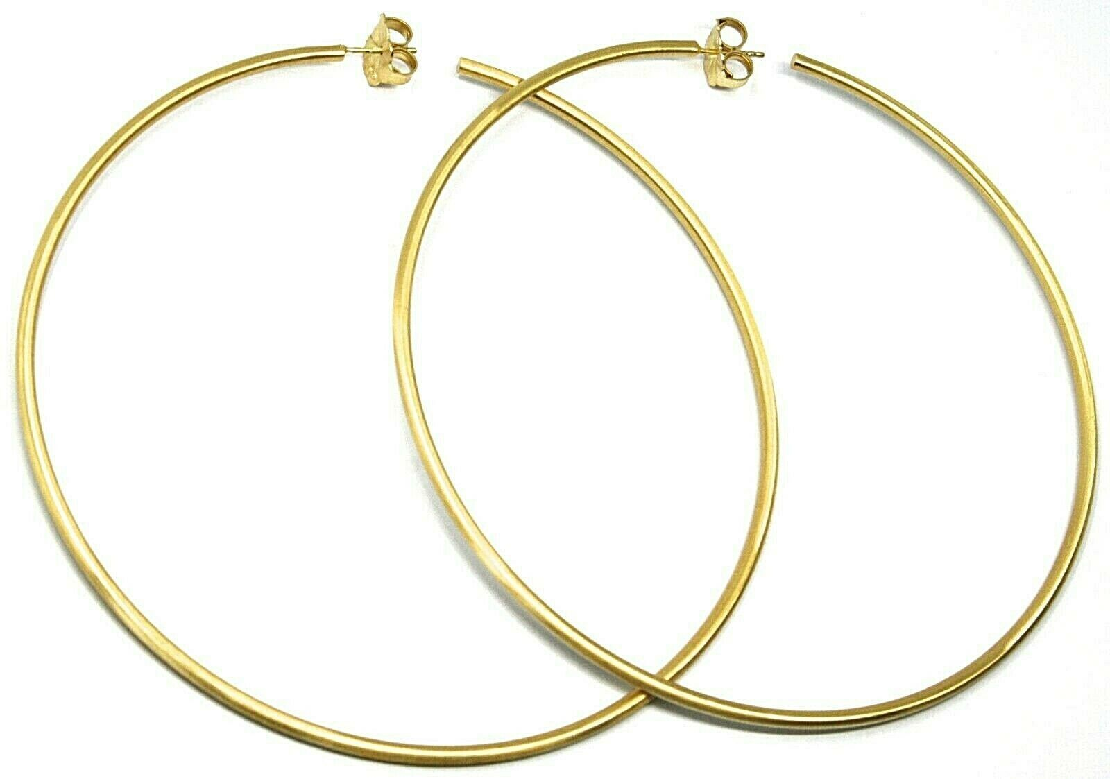 925 STERLING SILVER CIRCLE HOOPS BIG EARRINGS, 11cm x 2mm YELLOW SATIN FINISH
