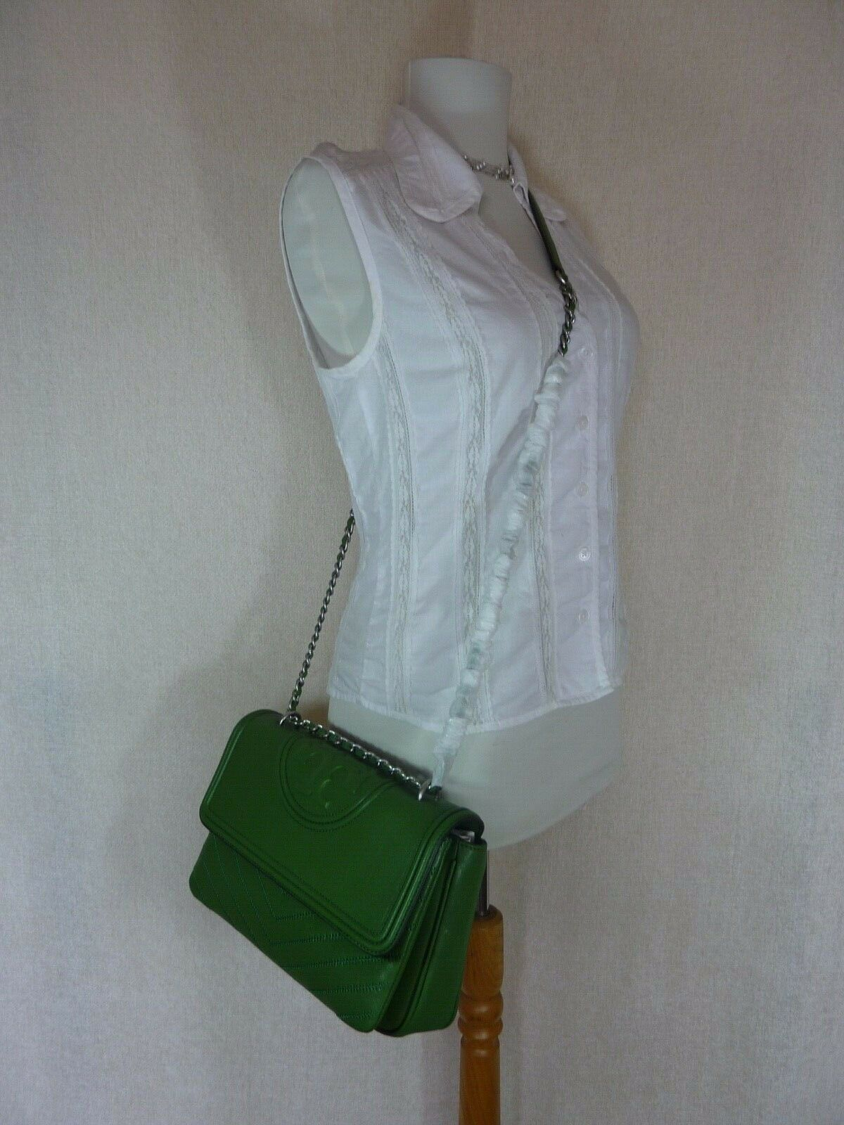 NWT Tory Burch Watercress Green Leather Fleming Convertible Shoulder Bag image 10