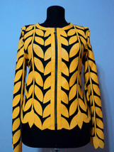 Round Neck Yellow Leather Leaf Jacket Womens All Colors Sizes Zipper Sho... - $115.00