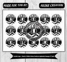 Black and White Zebra Pattern Alphabet Printable Bottlecap 1 Inch - Part... - $1.50