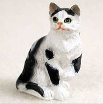 Shorthaired Black & White Tabby Cat TINY ONES Figurine Statue Pet Resin - $8.99