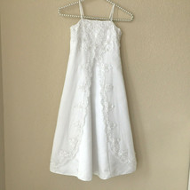 David's Bridal Flower Girl Pearl Beaded Lace Dress Wedding Gown H8475 Sz... - $27.71