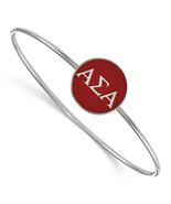 Sterling Silver S. Rh-Plated Logoart Alpha Sigma Enameled Slip-On Bangle... - $62.21