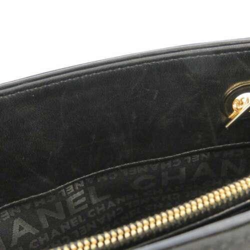 CHANEL Icon Chain Shoulder Bag Leather Knit Black Multi Color CC Logo Authentic image 10
