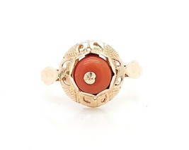 14k 583 Russian Rose Gold Women's Vintage Ring With Coral Stone - $186.07