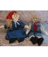 "Boy & Girl 15"" Rag Dolls Handmade-Yarn-Eyelet Lace-Overalls-Crafts-Gingh... - $12.99"