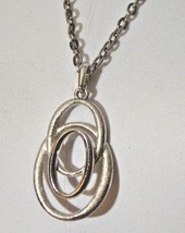 Crown TRIFARI Silver Tone Triple Loop Abstract Infinity Necklace Pendant Vintage - $49.49