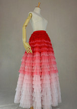 Bridal Tiered Tulle Skirt Outfit A-line Full Tulle Wedding Party Skirt,Red white image 6
