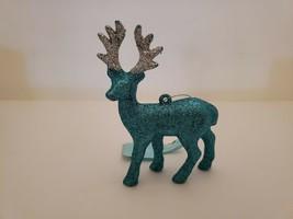 Wondershop Merry Lane Blue Glitter Reindeer Christmas Ornaments New - $2.93