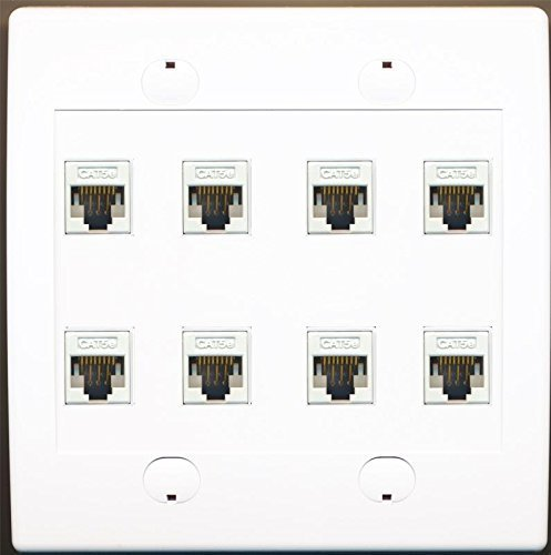 Primary image for RiteAV 8 Port Flat White Dual 2 Gang Ethernet Cat5e RJ45 Network Wall Plate
