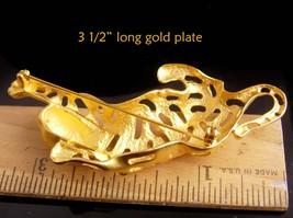 BIG Cat brooch / gold Jaguar / leopard pin / tiger rhinestone lapel pin / womens image 7