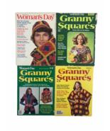 Vintage Woman's Day Granny Squares 1970's Magazine Crochet Craft #s 2 4 6 8 - $23.10
