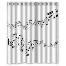 Memory Home Bathroom Decration Shower Curtain Music Notes Waterproof Polyester F - $37.29