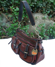 Dooney & Bourke Saddle Tan Brown Red Leather Pocket Hobo Brass Duck Charm DS455 image 2