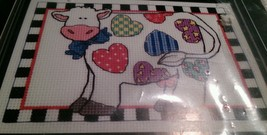 Dimensions 6662 Patchwork Cow Counted Cross Stitch 1994 Sue Dreamer 7x5 - $17.39