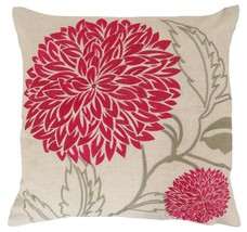 """2 X PINK FLORAL LEAF EMBROIDERED LINEN LOOK THICK FEEL CUSHION COVER 22""""... - £10.54 GBP"""