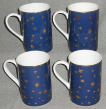 Set (4) Sakura BLUE GALAXY PATTERN Handled Mugs w/GOLD TRIM Mint Condition - $29.69