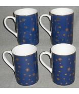 Set (4) Sakura BLUE GALAXY PATTERN Handled Mugs w/GOLD TRIM Mint Condition - $29.69