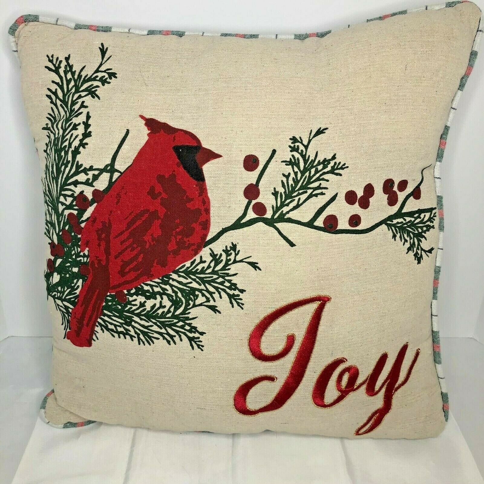 "Primary image for Christmas Holiday Pillow Joy with Cardinal 18"" square NWOT"