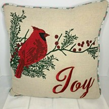 "Christmas Holiday Pillow Joy with Cardinal 18"" square NWOT - $32.75"