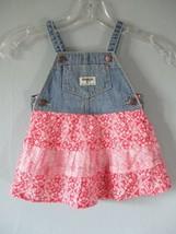 Oshkosh Girls Sz 12M Floral Oshkosh Pink Overall Denim Dress - $20.80