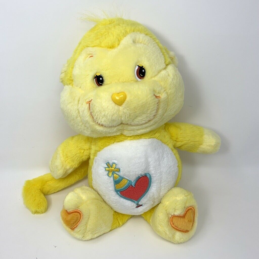 """Playful Heart Monkey Care Bear Cousins 13""""  Yellow Stuffed Plush 2004"""