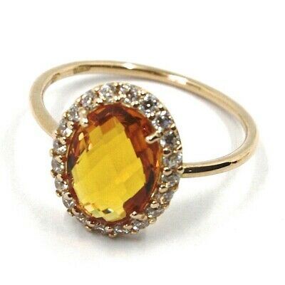 SOLID 18K ROSE GOLD FLOWER RING, OVAL YELLOW QUARTZ, CUBIC ZIRCONIA FRAME