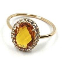 18K ROSE GOLD FLOWER RING, OVAL YELLOW CUSHION CRYSTAL, CUBIC ZIRCONIA FRAME image 1