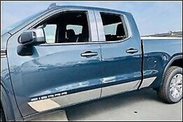 "Stainless Steel 7 7/8"" Rocker Panel 8PC - GMC Sierra Crew Cab 6.5' 19-21... - $219.99"
