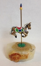 Ron Lee Carousel Horse Onyx Base Gold Bead Painted Signed Figurine Colle... - $225.00