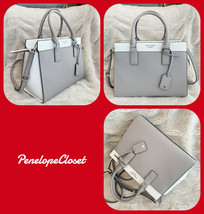 NWT KATE SPADE MEDIUM SATCHEL CAMERON LEATHER BAG IN WHITE/SOFT TAUPE - $114.88