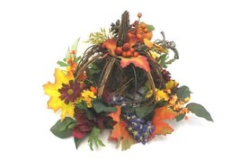 Wire Wood Pumpkin and Flowers Table Centerpiece Home Decor Fall Autumn H... - €21,20 EUR