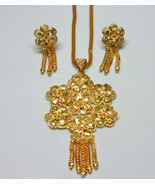 Indian Traditional Gold Plated Flower Style Pendant Chain Earrings Jewel... - $13.68