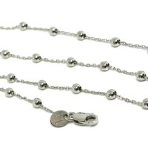 18K WHITE GOLD BALLS CHAIN 2 MM, 35 INCHES LONG, SPHERE ALTERNATE OVAL ROLO image 2
