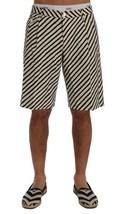 New $610 Dolce & Gabbana Men White Black Striped Hemp Casual Shorts It48-M - $199.96