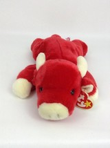 Red Snort Bull Ty Beanie Baby Buddies Vintage 1996 Plush Stuffed Toy with Tags - $13.32