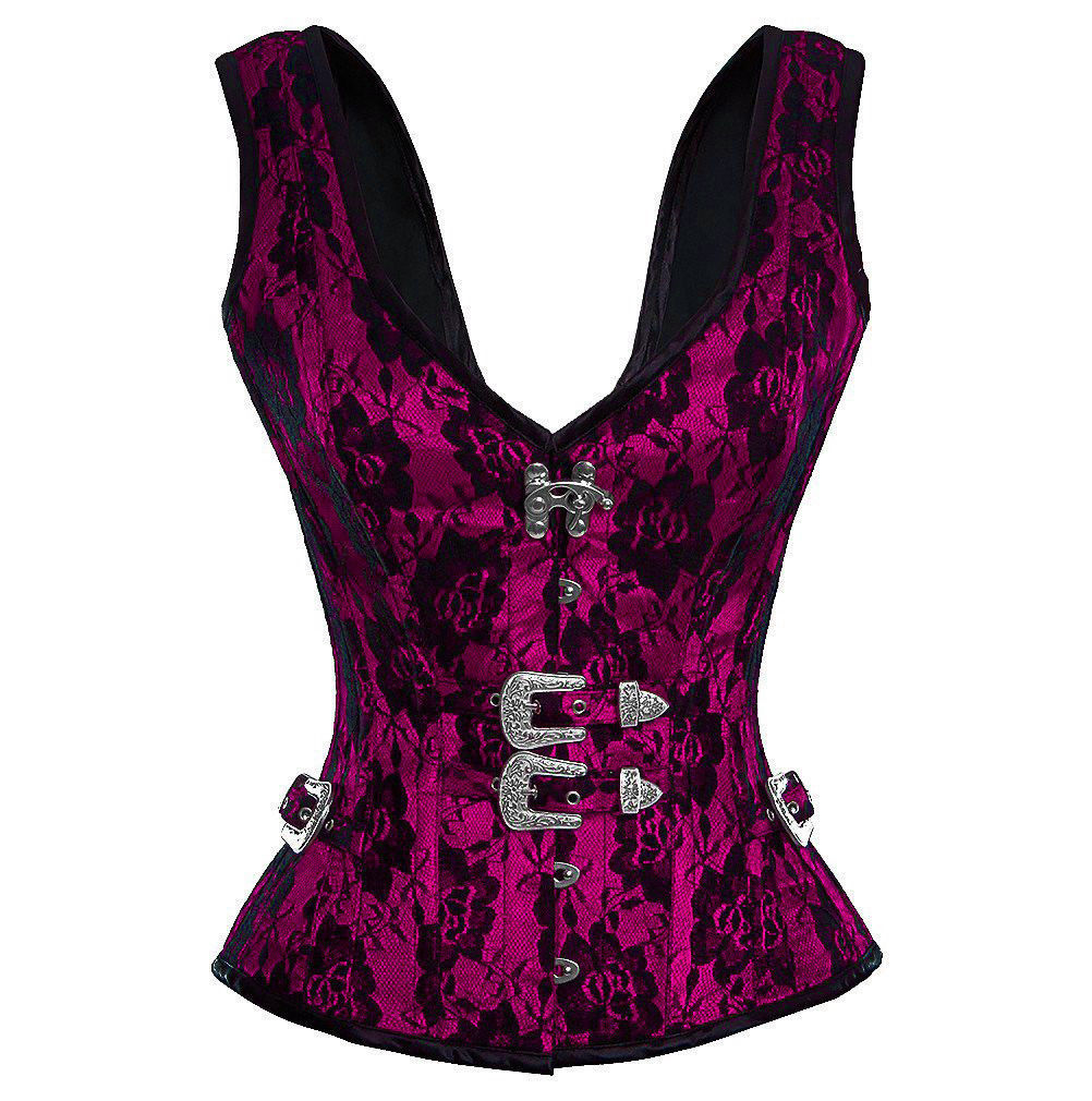 Purple Satin Net Shoulder Straps Gothic Waist Training Overbust Party Corset Top