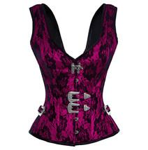 Purple Satin Net Shoulder Straps Gothic Waist Training Overbust Party Co... - $69.29+