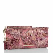 BRAHMIN KAYLA WISTERIA Croc Emb Leather Wristlet Pouch Clutch Bag w/Tass... - $88.08