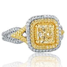 1.65 Ct Radiant Cut Yellow Diamond Engagement Ring Split Shank 18k White Gold  - $3,959.01