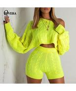 Ohvera Sweater Two Piece Set  Knitted Long Sleeve Crop Tops And Bodycon ... - $110.45+